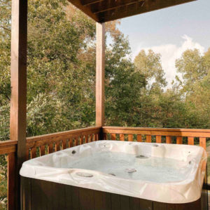 hot tub on cabin patio
