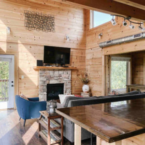 cabin kitchen and living room
