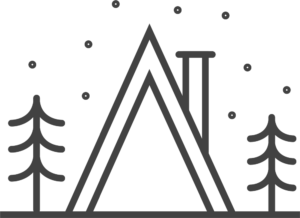 teepee with trees icon